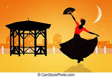 flamenco  - Illustration of flamenco dancer