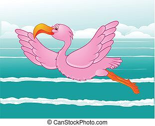 flamingo in flight - illustration of flamingo in flight