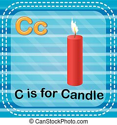 Flashcard letter C is for candle - illustration of Flashcard...