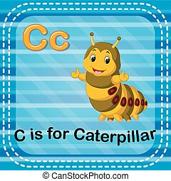 Flashcard letter C is for caterpillar - illustration of...