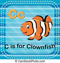 Flashcard letter C is for clownfish - illustration of...