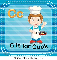 Flashcard letter C is for cook - illustration of Flashcard...