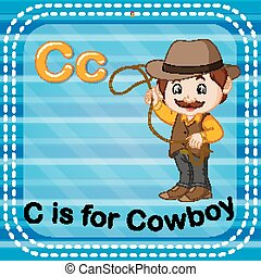Flashcard letter C is for cowboy