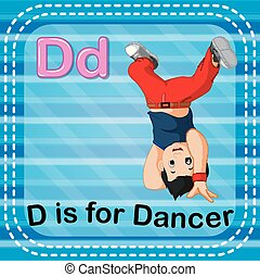 Flashcard letter D is for dancer - illustration of Flashcard...