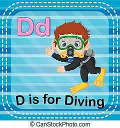 Flashcard letter D is for diving - illustration of Flashcard...