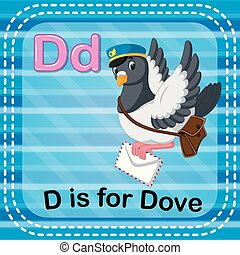 Flashcard letter D is for dove - illustration of Flashcard...
