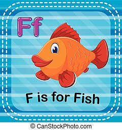 Flashcard letter F is for fish - illustration of Flashcard...