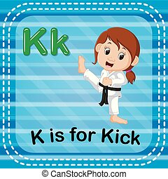 Flashcard letter K is for kick