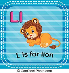 Flashcard letter L is for lion - illustration of Flashcard...