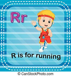 Flashcard letter R is for running