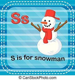 Flashcard letter S is for snowman