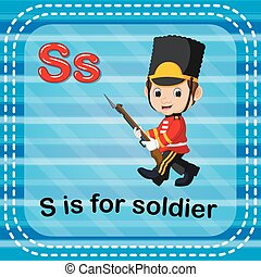 Flashcard letter S is for soldier