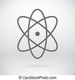 Flat Atom Sign Vector Chemistry Symbol Background -...