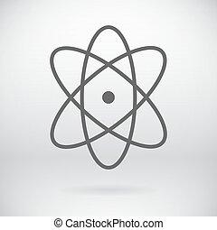 Flat Atom Sign Vector Chemistry Symbol Background -...
