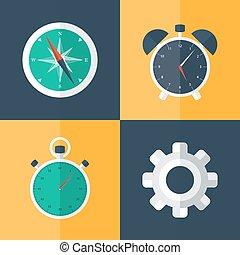 Flat business icons set orange and blue