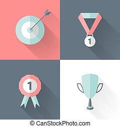 Flat career success icon set