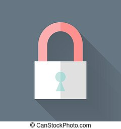 Flat closed padlock icon over blue