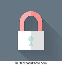 Flat closed padlock icon over blue
