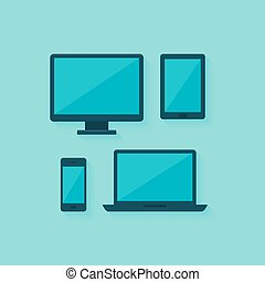 Flat computer and mobile devices set over blue