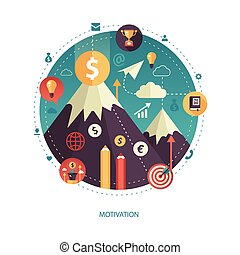Illustration of flat design business illustration with motivation composition
