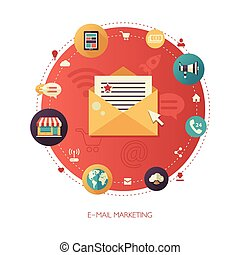 Illustration of flat design business marketing composition