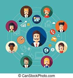 Illustration of flat design business team work composition