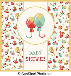Illustration of flat design cute baby shower template -...