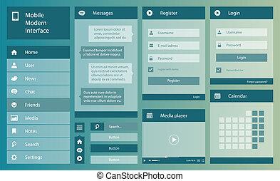 Illustration of flat design mobile interface
