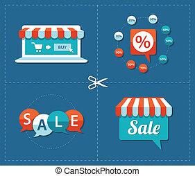 Illustration of flat design sale tags set