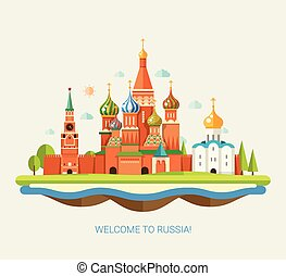 Illustration of flat design travel composition with Russian landscape