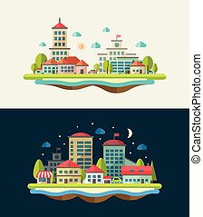 Illustration of flat design urban landscape compositions