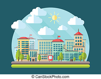 Illustration of flat design urban landscape