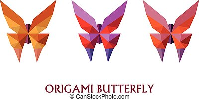 Illustration of flat design with origami butterfly isolated on white background