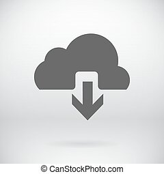 Flat Download Upload Icon Vector Load Symbol Button Background
