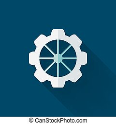 Flat gear wheel icon over blue