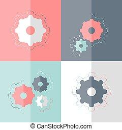 Flat gear wheel icon set