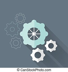 Flat gear wheel icons over blue