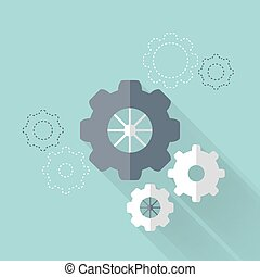 Flat gear wheel icons over mint
