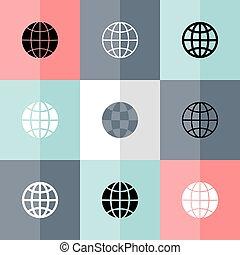 Flat globe icon set