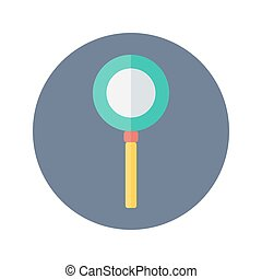 Flat loupe icon over blue