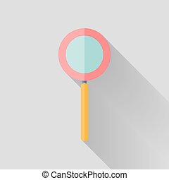 Flat loupe icon over grey