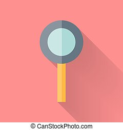 Flat loupe icon over pink