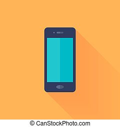 Flat mobile phone over orange