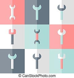 Flat nine wrench icon set