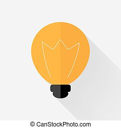 Flat orange lamp icon over grey