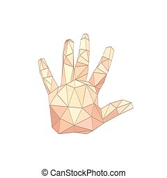 Illustration of flat origami palm hand