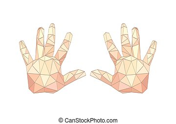 Illustration of flat origami palm hands