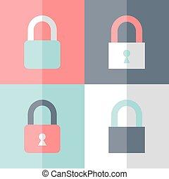 Flat padlock icon set