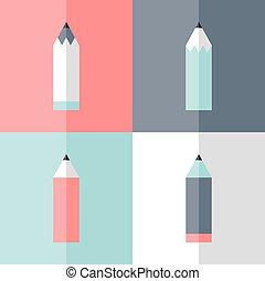 Flat pencil icon set