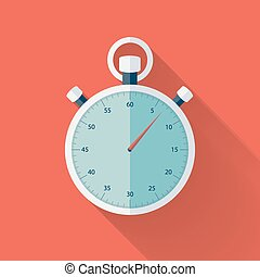 Flat stopwatch icon over red